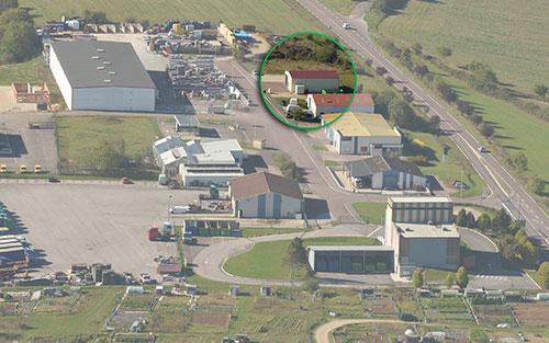 Vue aérienne de la zone d'activité de Sainte Colombe sur seine où est implantée DEP'Elec spécialisée en Electricité générale installation dépannage région Châtillon-sur-Seine